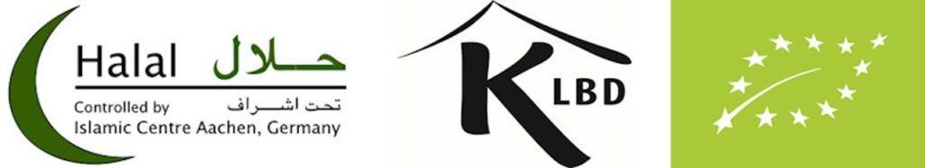 Logos for Halal, Kosher and organic certification