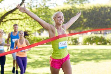Female winning a race